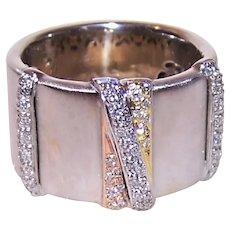 Estate 18K Tri-Gold .60CT TW Diamond W-I-D-E Wedding Band Wedding Ring - Made in Italy - Italian