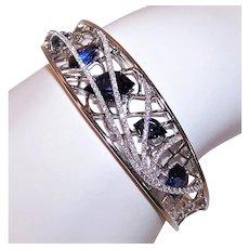 Estate 14K Gold 1.25CT TW Diamond 12CT TW Blue Iolite Hinged Cuff Bracelet