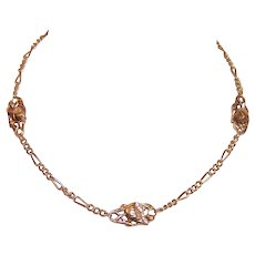 """Art Nouveau 18K Gold 14"""" Watch Chain Neck Chain with 3 Floral Panels - Poppies"""