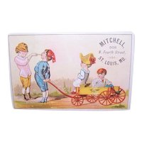 Mitchell Department Store St Louis, Mo - Children with Wagon - Victorian Trade Card