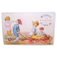 Victorian Trade Card for Mitchell, St Louis, Mo - Children with Wagon