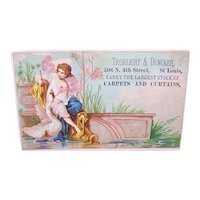 Trorlight & Duncker Carpets and Curtains - Leda and the Swan - Victorian Trade Card