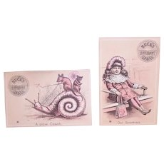 Bucks Brilliant Stoves - A Slow Coach (Snail & Mouse) and Out Shopping (Girl Resting) - 2 Victorian Trade Cards