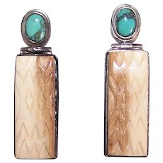 Tribal Design Sterling Silver Turquoise & Carved Stone Drop Earrings