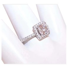 Modernist Sterling Silver Cubic Zirconia CZ Solitaire with Halo Engagement Ring