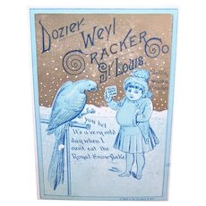 Dozier Weyl Cracker Co, St Louis Mo - Royal Snowflake Crackers - Child and Parrot - Victorian Trade Card