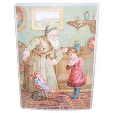 J Bacon & Sons Christmas Trade Card | Santa Claus Goods | Louisville Kentucky | Santa with Doll Buggy & Child