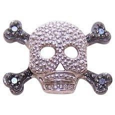Sterling Silver Diamond Accent Skulls & Crossbones Pendant | Pirate Pendant