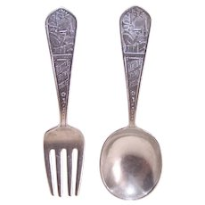 Art Deco Rogers Sterling Silver Baby Utensil Set - Little Boy Blue Baby Fork and Spoon