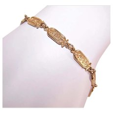 Sterling Silver Yellow Gold Vermeil Link Bracelet - Egyptian Revival - Hieroglyphs and Lotus Blossoms