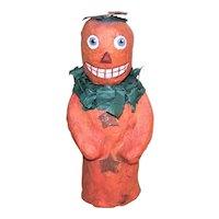 Artist Signed C.1999 Handmade Halloween Paper Mache Pumpkin Man Candy Container