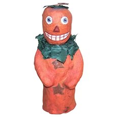 Artist Signed C.1999 Handmade Halloween Paper Mache Pumpkin Man Candy Container