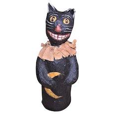 Artist Signed Gloria '99 Handmade Halloween Paper Mache Black Cat Candy Container