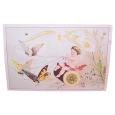 Merrick Thread Co - Charles E Patton Dry Goods and Notions - Angel with Butterflies - Victorian Trade Card