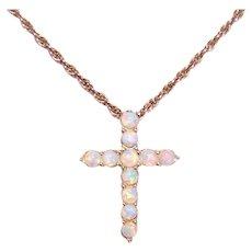 Sterling Silver Vermeil Faux Opal Cross Pendant