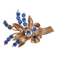 Czechoslovakia Gold Tone Blue Rhinestone Floral Costume Pin Flower Brooch