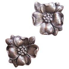 Cini Sterling Silver Screwback Earrings - Dogwood Blossoms