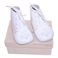 Unused Vintage White Leather Baby Shoes by Kinney with Congratulations Gift Box