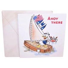 1943 Hallmark Walt Disney Productions Donald Duck Happy Birthday Card - Nautical Theme