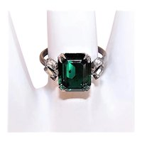 Art Deco Revival Cracker Jack-Like Sterling Silver Ring - Emerald Green & Clear Rhinestones