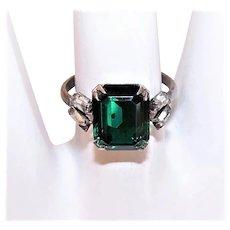 Art Deco Revival Cracker Jack-Like Sterling Silver Ring - Emerald Green & Clear Rhinestones