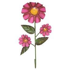 Vintage Painted Tin Pink Flower Coat Hook