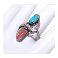 Native American Sterling Silver Turquoise Red Coral Ring