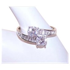 Sterling Silver Cubic Zirconia CZ Bypass Engagement Cocktail Ring
