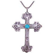 Native American Navajo Sterling Silver Turquoise Stamped Design Cross Pendant