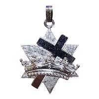 Friends of Israel Sterling Silver Cross Crown Charm or Pendant