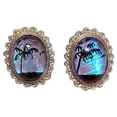 Sterling Silver Anamorph Butterfly Wing Screwback Earrings - Tropical Beach Scene with Palm Tree