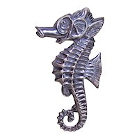 Retro Sterling Silver Seahorse Pin Brooch
