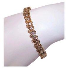 10K Gold 7.20CT TW Champagne Diamond Wavy Link Tennis Bracelet