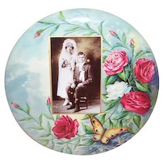 C.1910 Celluloid Tin Wedding Photo Display Wall Decor - Red/Pink Roses and Butterfly - Needs Repurposing