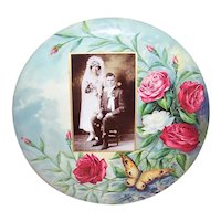 C.1910 Tin Flue Cover with Celluloid Front | Red/Pink Roses and Butterfly with Wedding Photo | Needs Repurposing