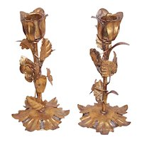 Mid Century Made in Italy Italian Tole Gilt Florentine Candle Holders Candle Sticks with Florals