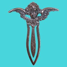 William B Kerr Antique Art Nouveau Sterling Silver Angel Book Mark Bookmark with Initials LJ