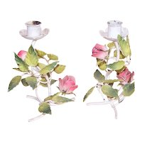 Pair Mid Century Made in Italy Italian Tole Candle Holders - Pink Roses Light/Dark Green Leaves