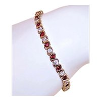 Sterling Silver Yellow Gold Vermeil Red & White Crystal Tennis Bracelet - Christmas Jewelry