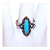 Bell Trading Post Sterling Silver Turquoise Ring - Size 5.25