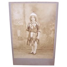 Edwardian B&W Cabinet Card Photograph - Girl Dressed in Costume