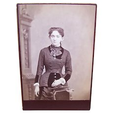 Victorian B&W Cabinet Card Photograph - Young Lady Wearing Lots of Jewelry
