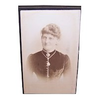 Victorian B&W Photograph Cabinet Card From Berlin, Germany - Lady Wearing Jewelry