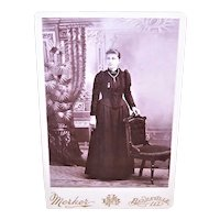 Victorian B&W Cabinet Card Photograph - Elegant Young Lady in Room Setting