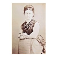 Victorian B&W Cabinet Card Photograph - Lady Standing Next to a Chair