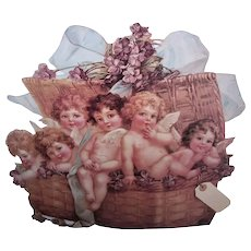 The Winslow Papers HUGE Stand Up Easel Greeting Gift Card - Lavender Basket Filled With Angels and Violets