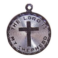 Sterling Silver Religious Disc Charm - The Lord is My Shepherd
