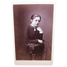 Victorian B&W Cabinet Card Photograph - Pensive Lady Kneeling on Her Prie Dieu (Prayer Chair)