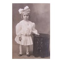 Victorian Cabinet Card - Little Girl in White with Big Bow in Her Hair