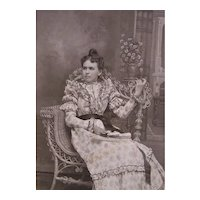 Victorian B&W Cabinet Card Photograph - Lady Reclining in Natural Wicker Rattan Chair